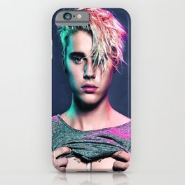 Justin Biebe, JB Colorful Singer Music Canvas Bar Cafe  iPhone Case