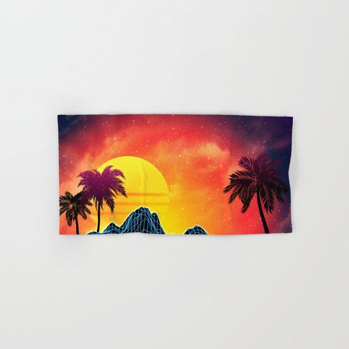 Sunset Vaporwave landscape with rocks and palms Hand & Bath Towel