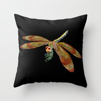 dragonfly Throw Pillows featuring Dragonfly by Tim Jeffs Art