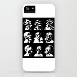3x3 Monster Heads - Black and White iPhone Case