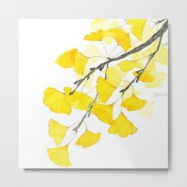 Golden Ginkgo Leaves Metal Print
