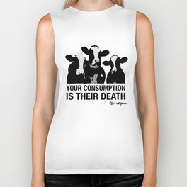 Your consumption is their death Biker Tank