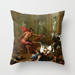 Sebastiano Ricci Perseus Confronting Phineus with the Head of Medusa Throw Pillow