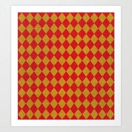 Vintage diamond pattern. Glitter checked red yellow vintage background Art Print