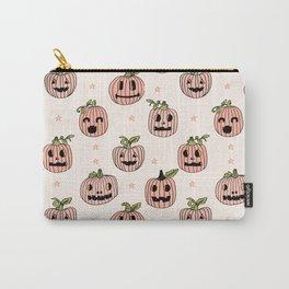 Pumpkin halloween jack-o'-lantern fall autumn carving cute pattern Carry-All Pouch