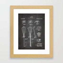 Whisk Patent - Baking Art - Black Chalkboard Framed Art Print