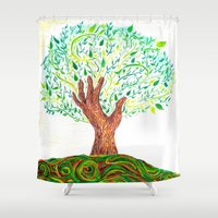 climbing Shower Curtains featuring Climbing Trees by Mollybaggy