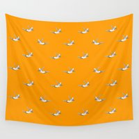 diver Wall Tapestries featuring The Diver - Orange Pattern by mentalembellisher