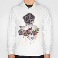 watercolor Hoodies featuring Butterfly Effect by KatePowellArt