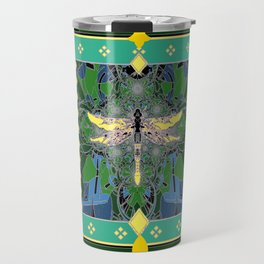 Yellow Dragonfly Purple Fleur de Lys Abstract Travel Mug