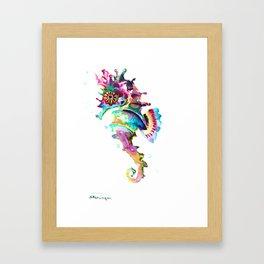 Seahorse , multi colored sea world animal art, design, cute animal art beach Framed Art Print