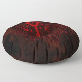 IS Symbol on Red Floor Pillow
