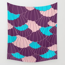 Scallop Abstract - Purple, Pink, Blue Wall Tapestry