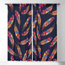 Watercolor Feather Jewel Toned Moody Blackout Curtain