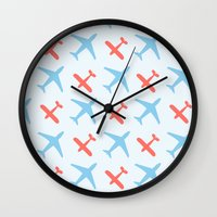 airplanes Wall Clocks featuring Airplanes by Daily Design