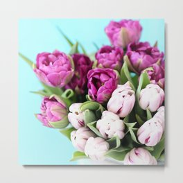 pink and purple tulips Metal Print