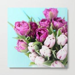 pink and purple tulips Metal Print