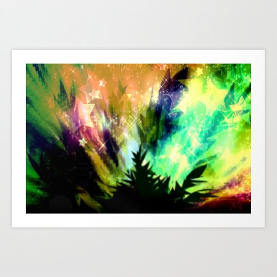 Summer night in nature. Art Print