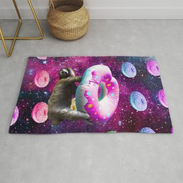 Space Sloth Riding Rainbow Donut Rug