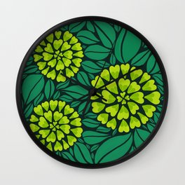 Spring Green Floral pattern Wall Clock