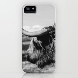 Highland Cow Looking in the Distance Black and White iPhone Case