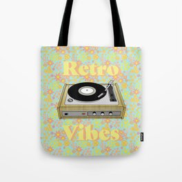 Retro Vibes Record Player Design in Yellow Tote Bag