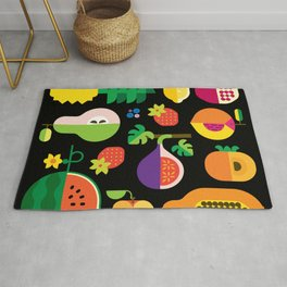 Fruit Medley Black Rug