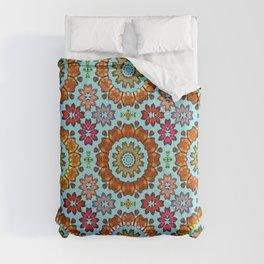 Tiled mandala flowers Comforters