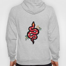 Red & Teal Colored Snake and Foliage Design Hoody