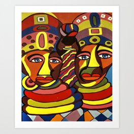 African Traditional Tribal Women Abstract Art Canvas Painting Series - 1 Art Print
