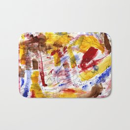 Red and Blue and Brown Bath Mat