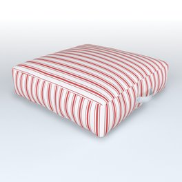 Mattress Ticking Narrow Striped Pattern in Red and White Outdoor Floor Cushion