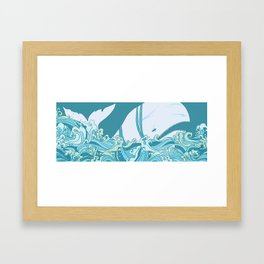 Moby Dick Illustration Framed Art Print