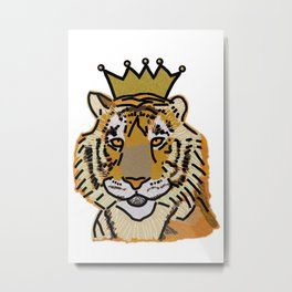 Tiger wearing Crown Metal Print