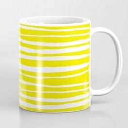 Small Sun Yellow Handdrawn horizontal Beach Stripes - Mix and Match with Simplicity of Life Coffee Mug