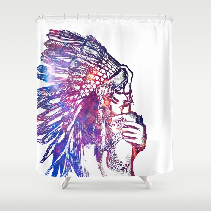 Space Indian Shower Curtain by yazdesigns | Society6
