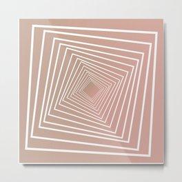 Rose Gold Geometrical Tunnel Metal Print