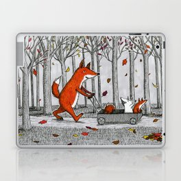 Fox Family Enjoying the Fall Leaves Laptop & iPad Skin