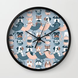 Knitting dog feelings I Wall Clock