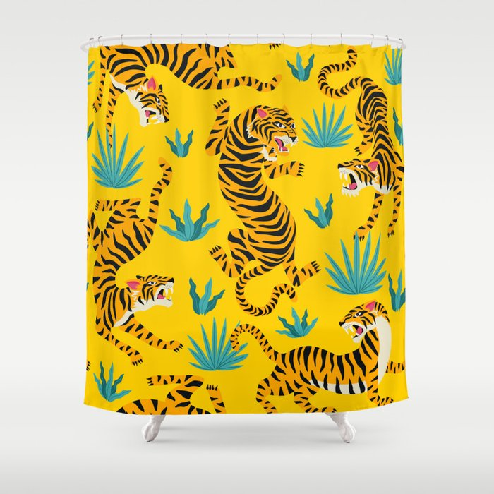 Yellow Tiger Tropical Pattern Shower Curtain