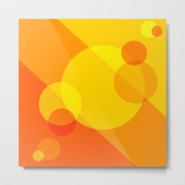 Orange Spheres Abstract Metal Print