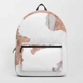 World Map Marble Pink Rose Yellow Gold Glitter Backpack