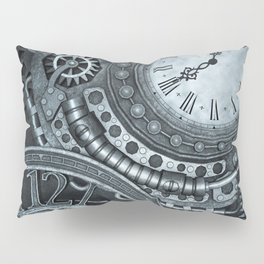 Silver Steampunk Clockwork Pillow Sham