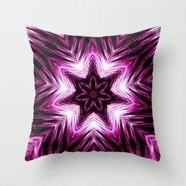 Bright Dark Violet Wine Red Abstract Blossom #purple #kaleidoscope Throw Pillow