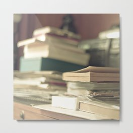 Pile of books  (Retro and Vintage Still Life Photography) Metal Print