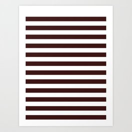 Narrow Horizontal Stripes - White and Dark Sienna Brown Art Print