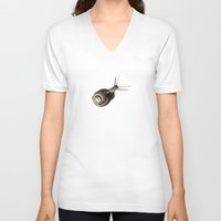 snail V-neck T-shirts featuring  Snail. by Assiyam