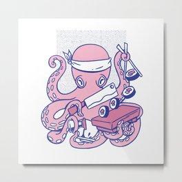 Octopus sushi chef cartoon japanese sushi octopus Metal Print