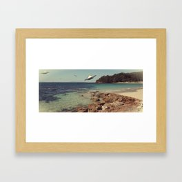 Trouble In Paradise #1 U.F.O's on the beach... Framed Art Print