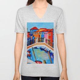 Colors of Venice Italy Unisex V-Neck